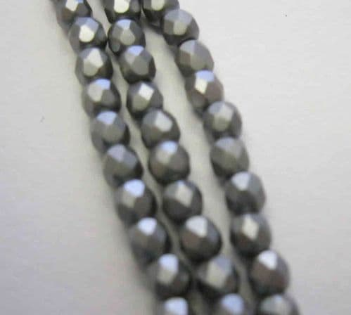 Czech Fire Polished Beads - 3mm - Pastel Light grey/silver (50)