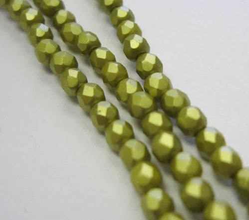 Czech Fire Polished Beads - 3mm - Pastel Lime (50)