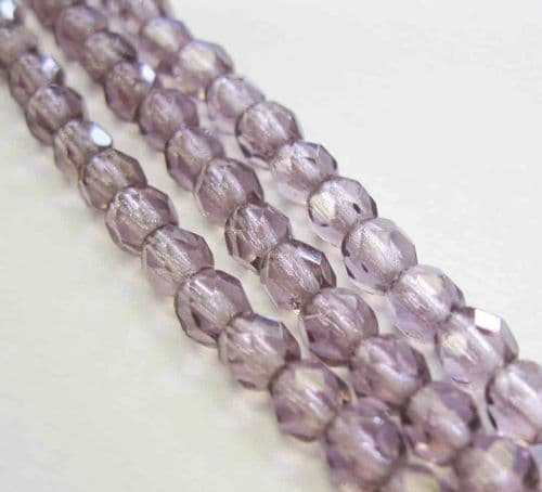 Czech Fire Polished Beads - 4mm - Amethyst (50)