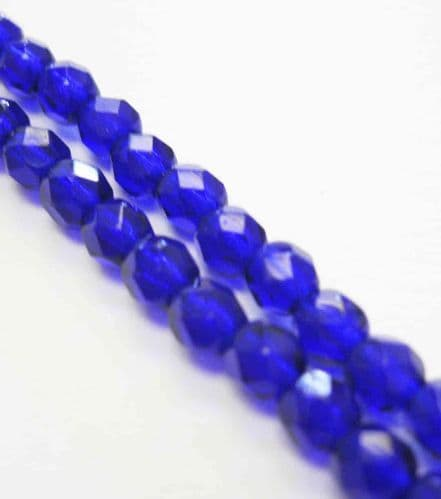 Czech Fire Polished Beads - 4mm - Cobalt Blue (50)