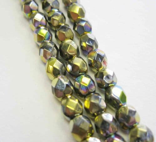 Czech Fire Polished Beads - 4mm - Crystal California Meadows (50)