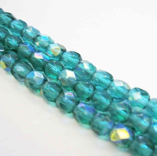 Czech Fire Polished Beads - 4mm - Emerald AB  (50)