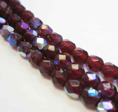 Czech Fire Polished Beads - 4mm - Garnet AB (50)