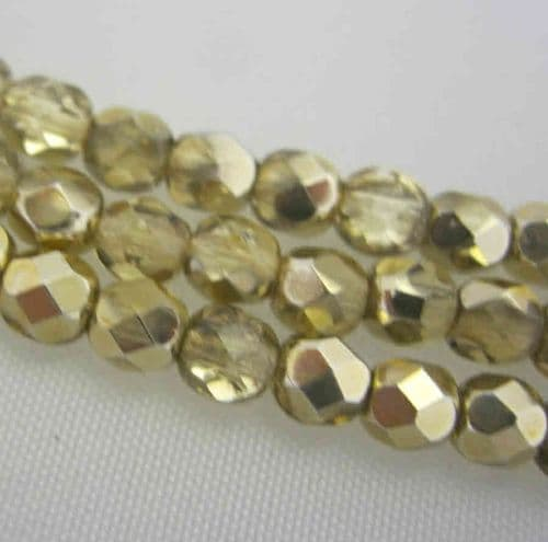 Czech Fire Polished Beads - 4mm - Gold Half Coat (50)