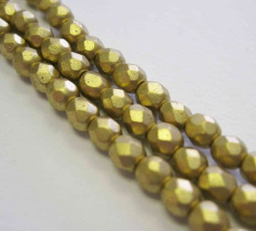 Czech Fire Polished Beads - 4mm - Gold Matt Metallic (50)