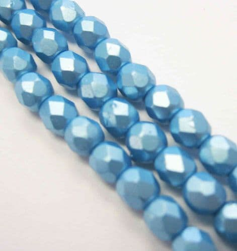 Czech Fire Polished Beads - 4mm - Pastel Aqua (50)