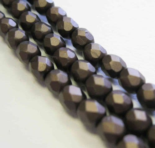 Czech Fire Polished Beads - 4mm - Pastel Dark Brown/Bronze (50)