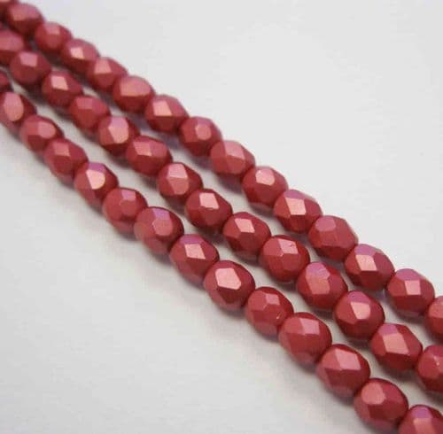 Czech Fire Polished Beads - 4mm - Pastel Dark Coral (50)