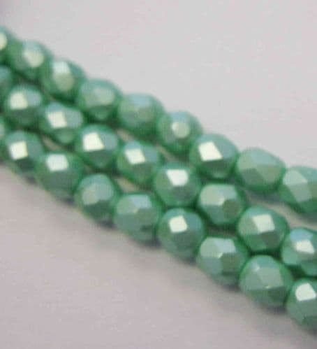 Czech Fire Polished Beads - 4mm - Pastel Light Green (50)