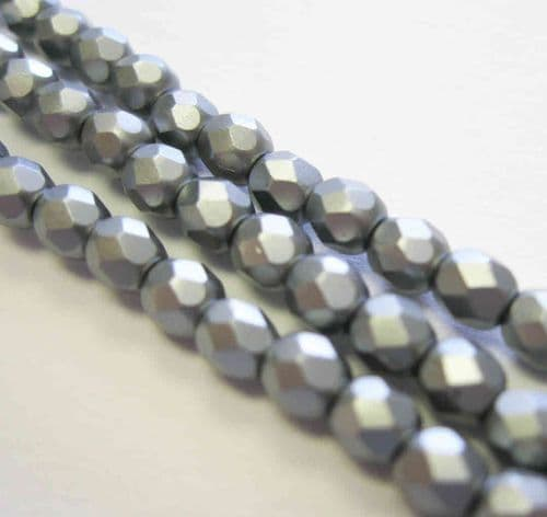 Czech Fire Polished Beads - 4mm - Pastel Light Grey/Silver (50)