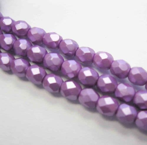 Czech Fire Polished Beads - 4mm - Pastel Lilac (50)
