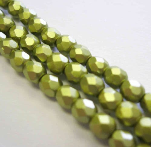 Czech Fire Polished Beads - 4mm - Pastel Lime (50)