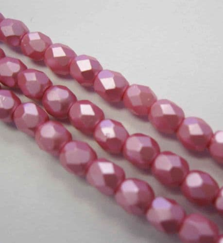 Czech Fire Polished Beads - 4mm - Pastel Pink (50)