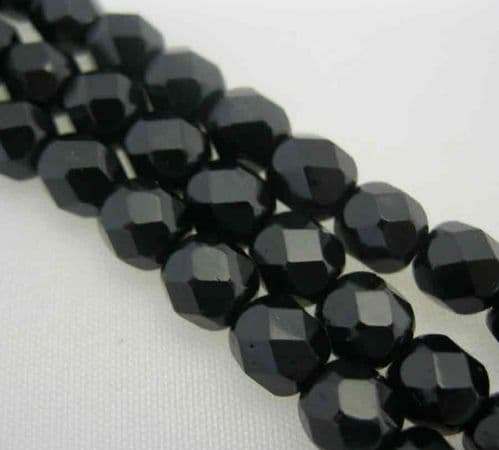 Czech Fire Polished Beads - 6mm - Black (25)