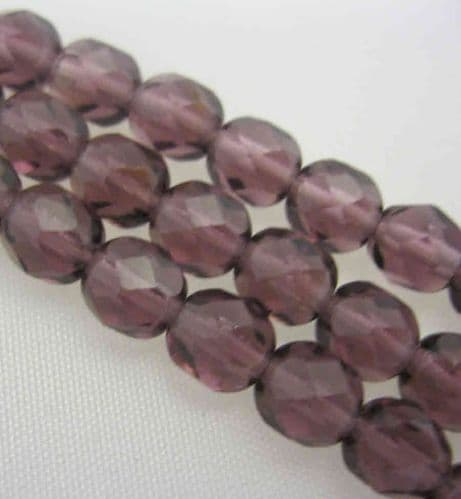 Czech Fire Polished Beads - 6mm - Purple (25)