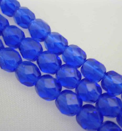 Czech Fire Polished Beads - 6mm - Royal Blue(25)