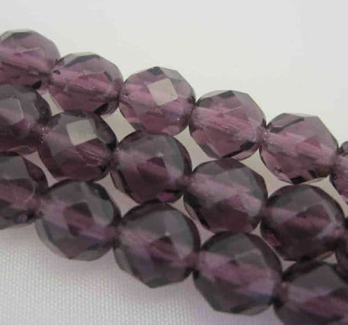 Czech Fire Polished Beads - 8mm - Amethyst (25)
