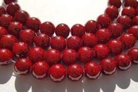 Drawbench Round 8mm Black Flecked Glass Bead Strand - Claret Red (25)