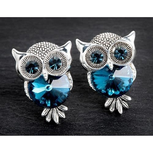Equilibrium Silver Plated Midnight Owl Earrings