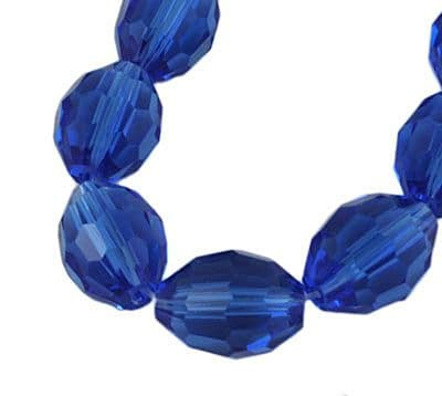 Faceted Oval Rice Shape Glass Beads - 4x6mm - Blue (35 beads)