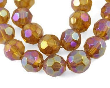 Faceted Round AB Coffee 6mm (30)