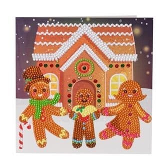 Gingerbread Family Crystal Art Card Kit