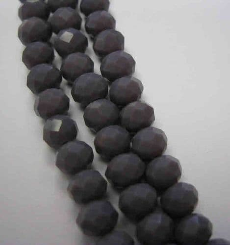 Glass Abacus Beads 6x4mm (18) Opaque Purple