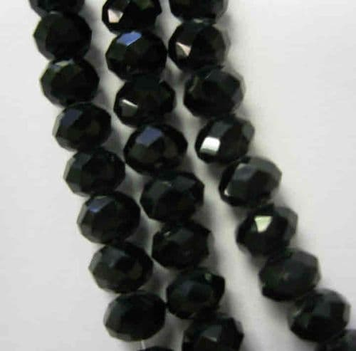 Glass Abacus Beads 6x4mm (20) Black