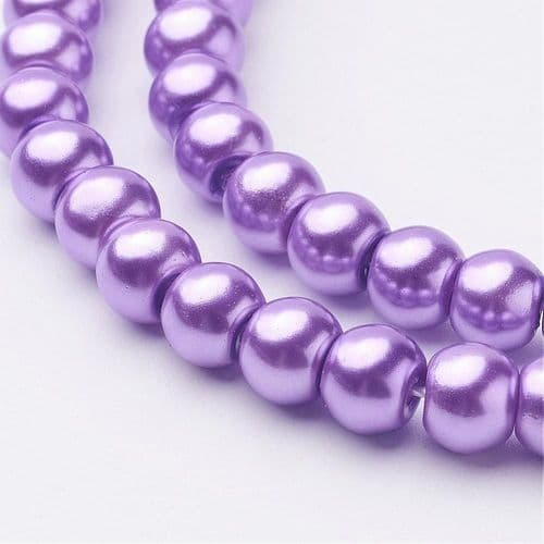 Glass Pearl Beads Dark Orchid 6mm