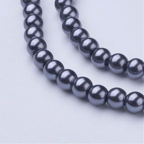 Glass Pearl Beads Gray 6mm