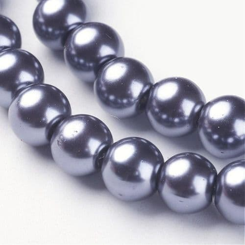 Glass Pearl Beads Gray 8mm