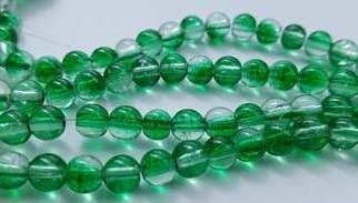 Green & Clear Crackle Glass Round Beads 6mm (30)