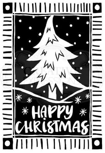 Lino Cut Christmas Tree Clear Woodware Stamp (JGS609)