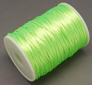 Nylon Rattail Cord - Bright Green (2mm) - 1 metre