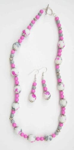 Pink and Grey Speckled Necklace & Earrings Kit