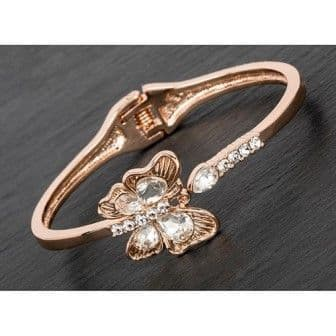 Rose Gold Plated Crystal Butterfly Bangle Clear