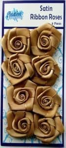 Satin Ribbon Roses Gold