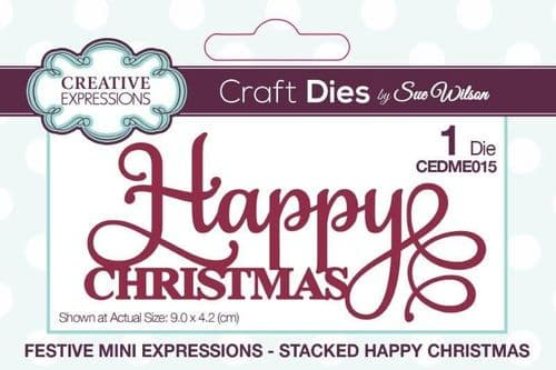 Stacked Happy Christmas Mini Creative Expressions Die (CEDME015)