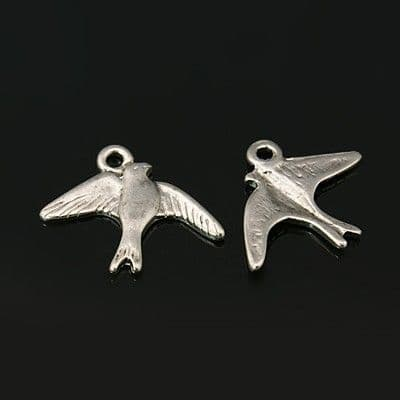 Swift Bird Charms (pack of 5) Antique Silver