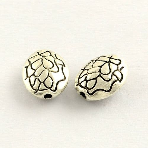 Tibetan Style Zinc Alloy Antique Silver Oval Beads (20)