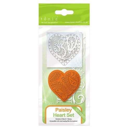 Tonic Die Paisley Heart Stamp and Die Set (1046E)