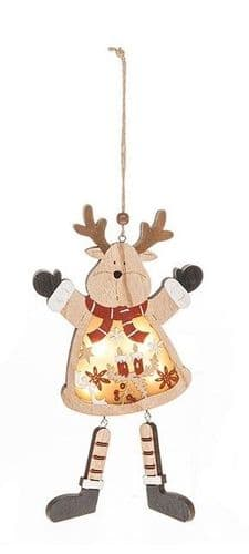 Wooden Xmas LED Hanging Decoration - Reindeer