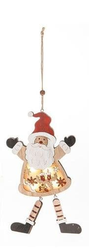 Wooden Xmas LED Hanging Decoration - Santa
