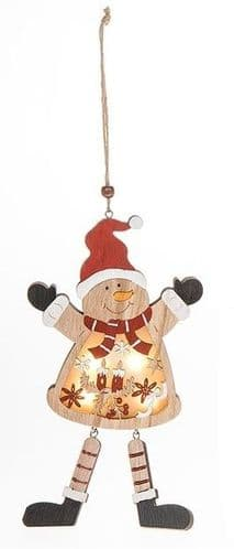 Wooden Xmas LED Hanging Decoration - Snowman