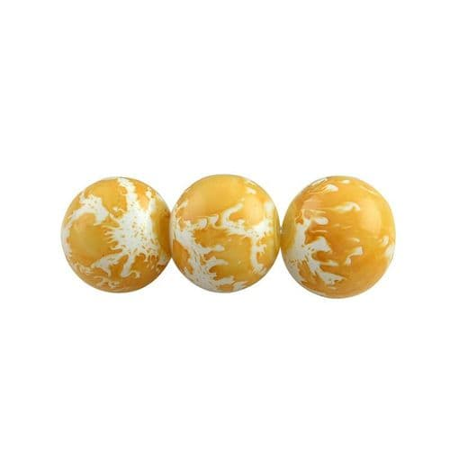 Yellow Speckled 8mm Glass Beads (25)