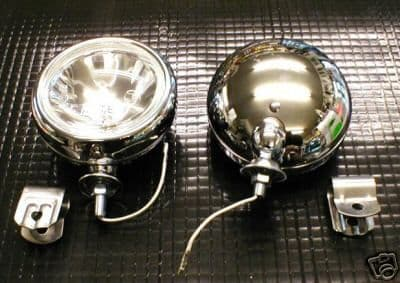 CHROME HALOGEN SPOTLAMPS PAIR INCLUDING FIXING CLIPS