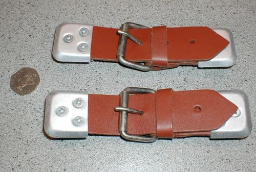 CLASSIC CAR LIGHT TAN  LEATHER BONNET STRAP KIT - PAIR