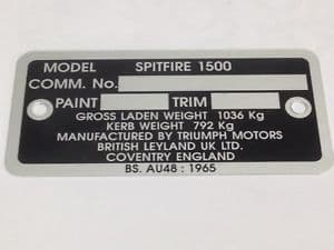 COMMISSION/DATA PLATE TRIUMPH SPITFIRE  1500