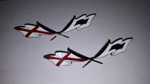 CROSSED FLAG BADGE EMBLEM *PAIR * TRIUMPH HERALD 948 1200  12/50  607760