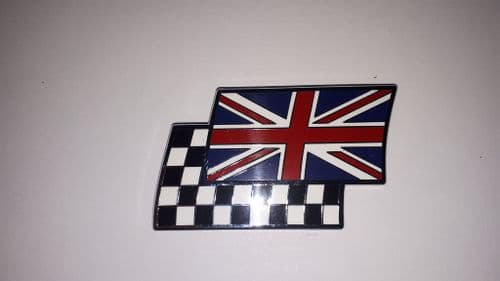 UNION JACK / CHEQUER SELF ADHESIVE FLAG BADGE METAL / ENAMEL 51 X 29 MM